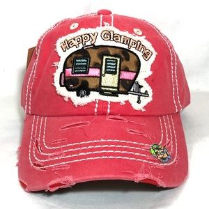 HAPPY CAMPING Vintage Baseball Cap Pink Hat